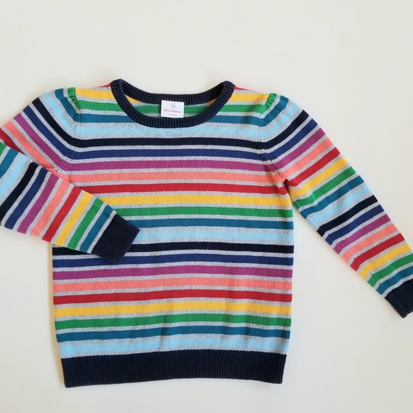 HANNA ANDERSSON Rainbow Stripe Knit Sweater 140 10